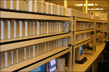 Rack of 150 Mac Minis used in the Microsoft Mac Testing Lab