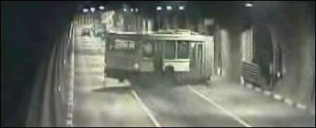 Russian Bus Out of Control in Underground Tunnel