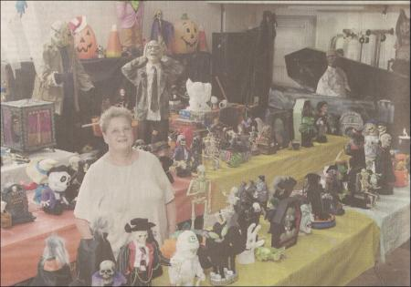 The Meister Mom and her indoors halloween collection (photo taken by Michael Blair / MBlair@News-Herald.com)