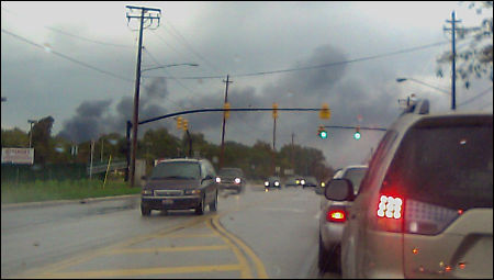 View from a few miles away from the Painesville, Ohio train fire.