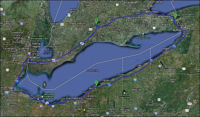 Lake Erie Loop 2013 map